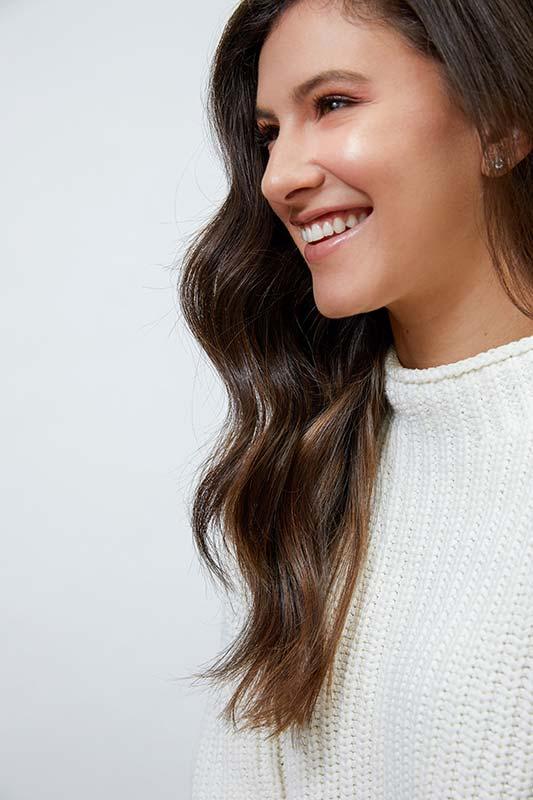 Warm balayage natural brown hair
